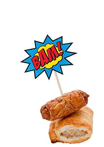 41IqCZKkfNL - AK Giftshop Call out Speak - Burbujas de Dibujos Animados de superhéroes para cumpleaños, Eventos, Comida para Fiestas, Cupcakes, Palillos y Decoraciones para Banderas de Alimentos (Pack de 14)