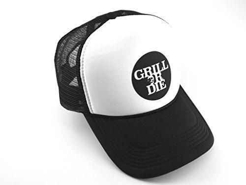 GRILL OR DIE® Grillcap ★ Baseball Truck Cap schwarz weiss mit Aufdruck in Premium-Qualität ★ BBQ Grill Zubehör passt ideal zu Grillschürze (CAP OneSize, Schwarz)