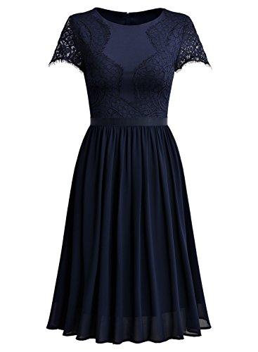 Miusol Damen Abendkleid Sommer Chiffon festlich Kleid Cocktailkleid Vinatge kleider Blau - 5