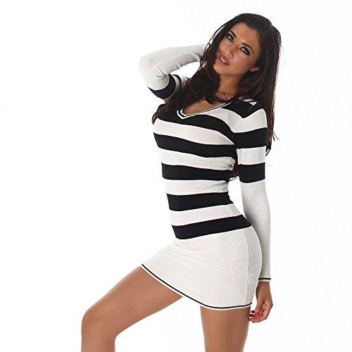 Damen Longshirt Strickkleid Long-Pullover mit V-Ausschnitt und Streifen Einheitsgröße 8 verschieden Farben (34-38) Jela London Weiß