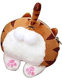 LQZ Women Girls Boys Cute Cat Plush Change Coin Purse Kids Zipper Gift Pouch