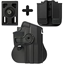 IMI Defense Tactical Kit Roto Retention Paddle Holster + Double Magazine Pouch + Belt Holster Attachment For H&K USP Full-Size (9mm/.40)