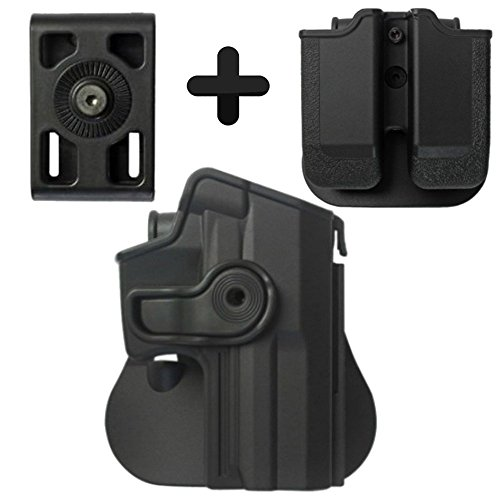 Price comparison product image IMI Defense Z1140 Tactical Combo Kit Roto Retention Paddle Holster + Double Magazine Pouch + Belt Holster Attachment For Heckler & Koch USP Full-Size (9mm / .40) Pistol Handgun