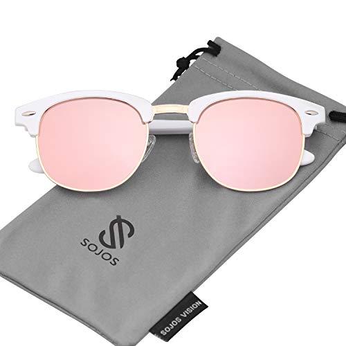 SOJOS Herren Brille Nerdbrille Brillenfassungen Wechselgläser Silikone Nasenpolster SJ5018 (C06 Weiß Rahmen/Rosa Linse)