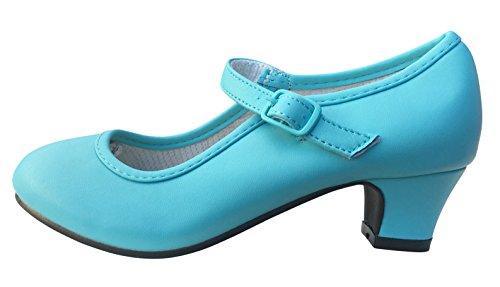 La Senorita Spanische Flamenco Schuhe ELSA Prinzessinnen Schuhe Eisblau (Größe 33 - Innenmaß 21,5 cm)