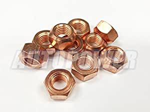 Copper Nuts And Bolts >> 10x M8 Copper Flashed Exhaust Manifold 8mm Nut High Temperature