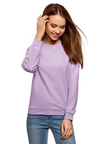 oodji Ultra Damen Lässiges Baumwoll-Sweatshirt, Violett, DE 36 / EU 38 / S - Pflaume-pullover-strickjacke