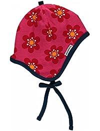 MAXOMORRA Mädchen Mütze Pink Blume Helmet Velour Anemone BioBaumwolle Gots