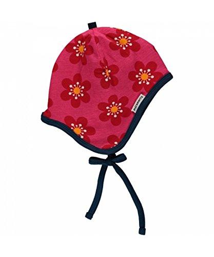 MAXOMORRA Mädchen Mütze Pink Blume Helmet Velour Anemone BioBaumwolle Gots -...