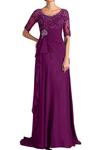 TOSKANA BRAUT Elegant Neu Rund Royalblau Paillette 2017 Halbarm Abendkleider Lang Brautmutterkleider Partykleid Bildfarbe