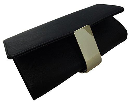 UKFS Donne Ragazze Grande Pianura Lynda Ecopelle Pochette Da Giorno / Borsa A Tracolla (Blu) Nero