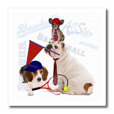 3dRose ht_127602_3 Bulldog, Papillon und Beagle Sport-Thema, ideal für jeden Hundeliebhaber, zum Aufbügeln, für weißes Material, 25,4 x 25,4 cm Papillon T-shirt Sweatshirt