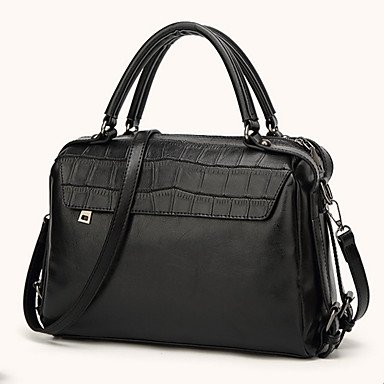 Frauen Tote PU All Seasons formale Casual Event / Party im Freien Büro & Karriere Barrel Reißverschluss Amethyst Wein Braun Schwarz Brown