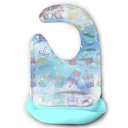 Sweet Bubble Tea Bavoir imperméable en silicone pour bébé avec poche