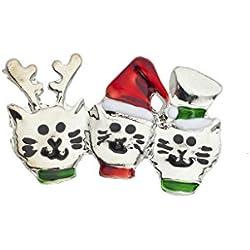 LUX Zubehör Urlaub Weihnachten Drei Katzen in einer Mütze Rentier Brosche Pin