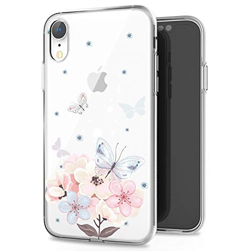 JIAXIUFEN iPhone XR Hülle Handyhülle TPU Silikon Weiche Clear Schutzhülle Transparent Flexibel Case Handy Hülle für Apple iPhone XR 2018 6.1 Zoll - Butterfly Flower