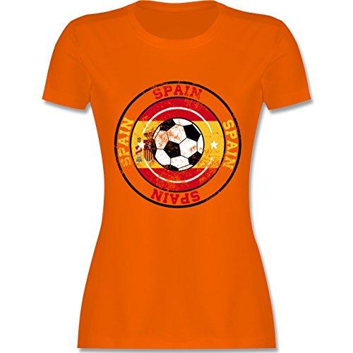 EM 2016 Frankreich Spain Kreis Fußball Vintage tailliertes Premium TShirt  mit Rundhalsausschnitt für Damen Orange
