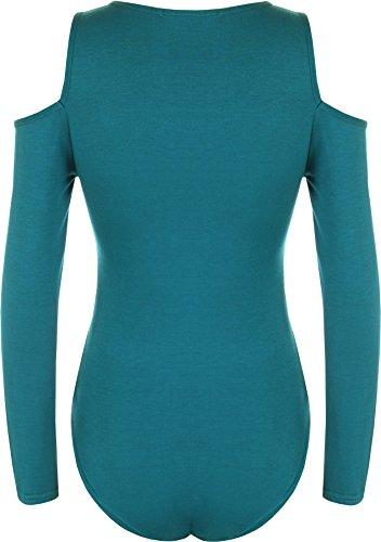 WearAll - Damen Schnitt Weg Schulter Strecke Lang Hülle Trikot Bodysuit Top - 7 Farben - Größe 44-50 Teal