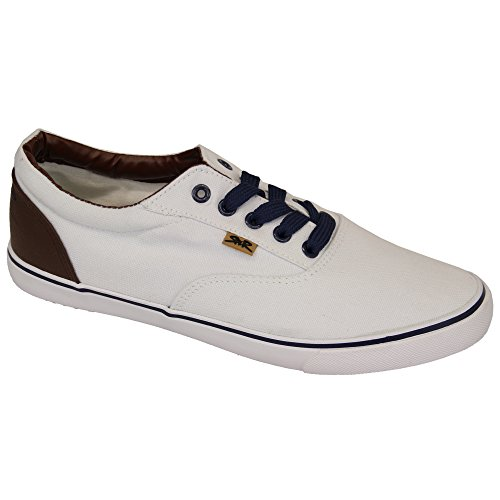 Chaussures Pour Hommes Rock & Religion Baskets À Rayures Pointillé Jeans Chaussure Tennis Toile Blanc - HOLDEN