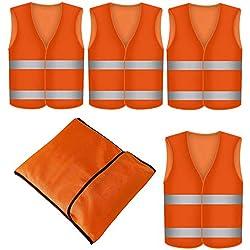 4 Gilet de Securite Infroissable Orange Fluo | Lot de 4 Gilets de Sécurité Réfléchissants à 360 Degrés EN471 | Lavable en Machine