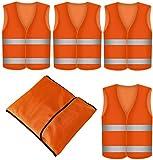 4 Warnwesten Sicherheitsweste Set Pannenweste ORANGE | Atmungsaktiv | 360 Grad Reflektierende Schutz Weste Prowiste®