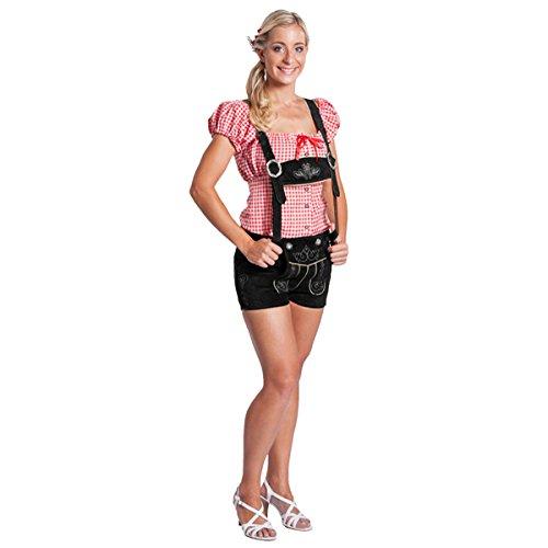 FROHSINN Damen Trachten Lederhose Kurz Bayern (Farbe: schwarz,Grösse 38: Bundweite: 79-84 cm) - Original Oktoberfest