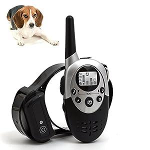 [2017 nouvelle version] Silaite Dog Trainer 1000 mètres à distance chien d'entraînement collier imperméable à l'écorce colliers de dressage rechargeables PET collier avec des tonalités d'avertissement, vibrations, feux de signalisation fonction-Champagne.