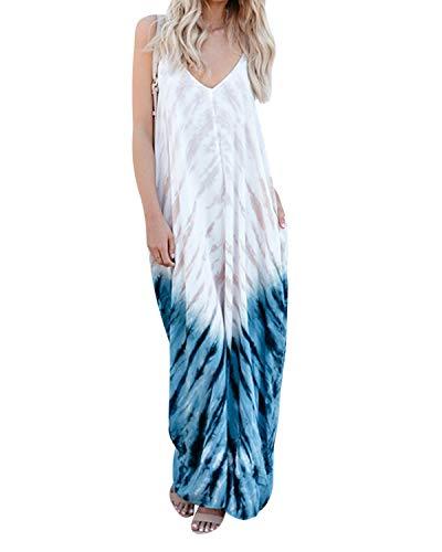 os MaxiKleid V-Ausschnitt Boho Blumen Lange Kleid Sommer Lose Party Dress Strandkleid Sommerkleid B-Blumen S=EU 36 ()