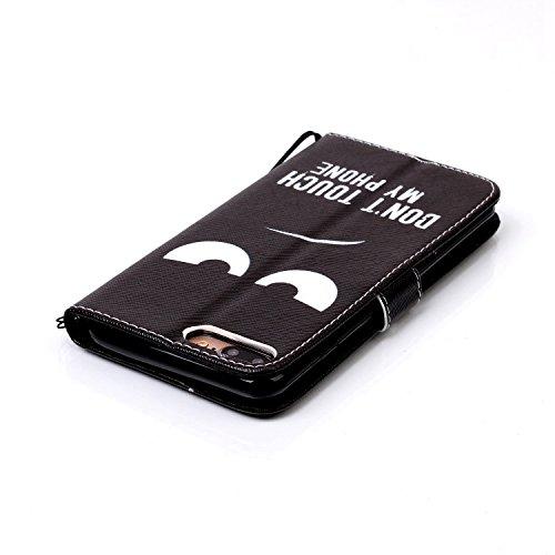 iPhone 8 Plus Hülle, STENES Stilvoll Serie Kartenfach Standfunktion Magnet Ledertasche Wallet TPU Stoßfänger Schutzhülle für iPhone 7 Plus / iPhone 8 Plus - Laute Ente / Schwarzes Unglückliches Gesicht / Schwarzes