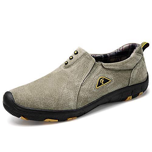 Mocassini da Passeggio Comodi Uomo, Scarpe da Trekking Scamosciato Inglesi Slip On Loafers Scarpe da Guida 38-45,Cachi,40
