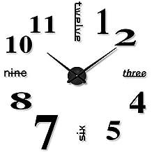Relojes de pared Adhesivos DIY 3D Números Moderno Relojes Decoración (Negro)