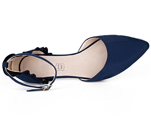 MaxMuxun Damen Pumps Kitten Absatz Pointed Toe Party Braut Abend Pumps Blau Größe 39EU - 5