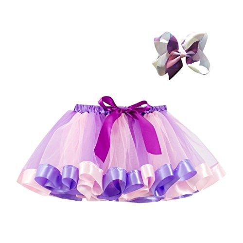 MCYs 2PCS Mädchen Kinder Tutu Party Rock Kleinkind Baby Ballett Kostüm Ballettröckchen Rock + Bow Haarnadel Set (4Jahre, Lila-A)