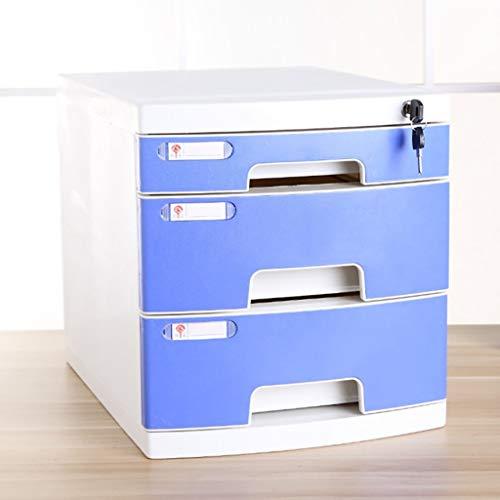 Cassettiera armadi per documenti scatola di immagazzinaggio mobili per ufficio armadietto archivio desktop a 3 piani con serratura tipo di cassetto capacità elevata file a4 (colore : blu)