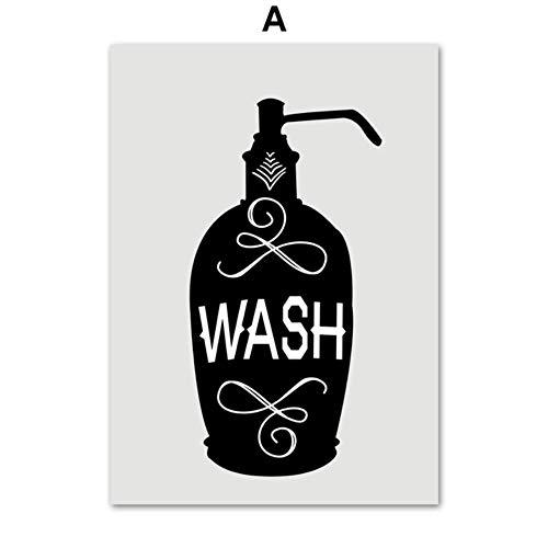 XWArtpic Toilettenpapier Zahnbürste Hand Seife Zitate Wandkunst Leinwand Malerei Nordic Poster Und Drucke Wandbilder Für Badezimmer Dekor A 40 * 50 cm