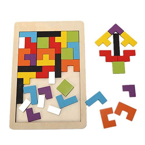 DOTBUY Puzzle de Madera 3 años, Colorido de Madera Geometría Bloque de Construcción Inteligencia Regalo para Niños Jigsaw Rompecabezas Juego Educativo Toy (40 Pcs) (Geometría de Color)