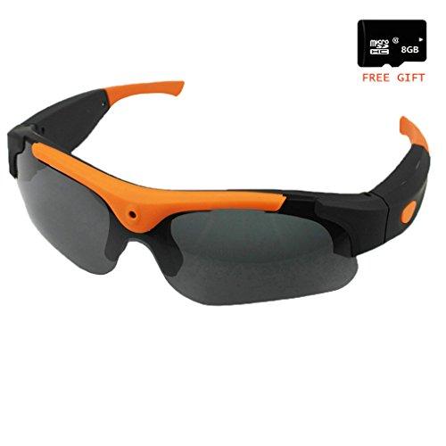 JIAMEIYI sportivo DV Camera Occhiali da Vista Nascosto Security Video Recorder HD 1080P Occhiali da Sole da 5 Megapixel Fotocamera che Prendono per Attività all'aria Aperta (Arancia)