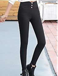 PU&PU Femme simple Taille haute strenchy Mince Pantalon,Mince Couleur Pleine