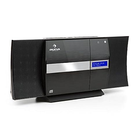 auna V-20 • Stereoanlage • Kompaktanlage • Microanlage • CD-Player • DAB+ Tuner • UKW-Empfänger • Bluetooth • NFC • USB • MP3 • Fernbedienung • LED-Display mit Uhrzeitanzeige • AUX-Eingang • Standaufstellung oder platzsparende Wandmontage • schwarz