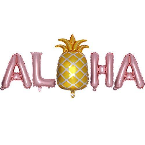 LUOEM Hawaiian Folie Ballons Aloha Mylar Ballon Hawaii Luau Partydekorationen Sommer Tropischen Party Favors Supplies (Rose Gold) (Tropische Party Supplies)