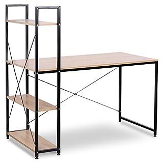 WOLTU TSB01hei Bureau d'ordinateur Table de Bureau à Domicile Station de Travail en Bois et Acier avec étagère, Environ 120x64x140cm,15,08kg
