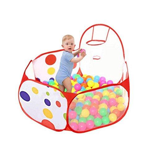 TOYMYTOY Kinderzelt Spielhaus Pop-up Spielzelt Faltbar Bällebad mit 100Pcs Bälle für Drinnen und Draußen