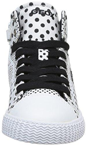 Geox J Smart G C, Baskets mode fille Blanc (White/Black)