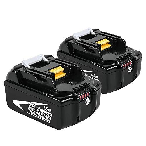 [2 Stück] Powayup BL1860B Lithium Ersatz für Makita Akku 18V 5.5Ah BL1860B BL1860 BL1850B BL1850 BL1840 BL1830 BL1820 194205-3 LXT-400 Werkzeugakkus mit Indikator