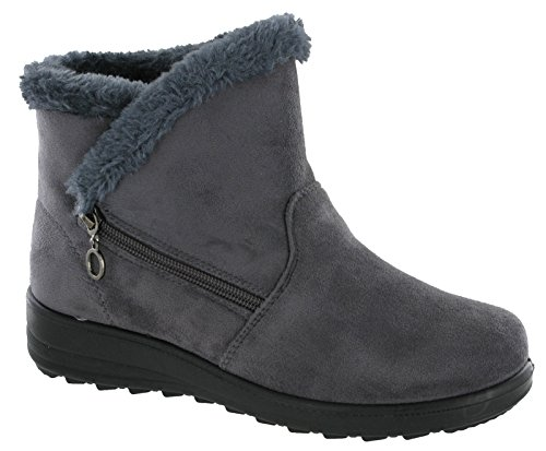 c43f8b4d2d36 Cushion Walk Olivia Fur Lined Ankle Boots Side Zip Lightweight Soft Warm.