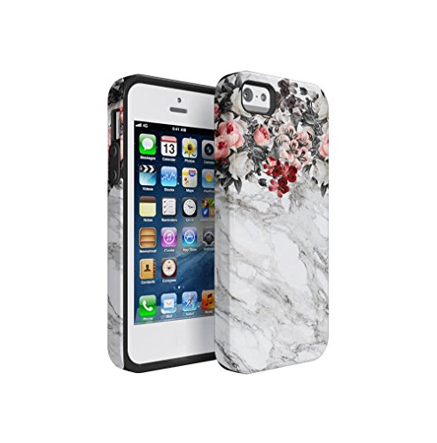 Pink Flowers Boquet Light Grey Marble Stone Apple iPhone 5 / iPhone 5S Silicone Inner & Outer Hard PC Shell 2 Piece Hybrid Armor Case Cover (Pink Jewel Snap Flower)