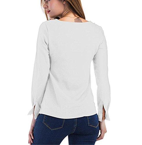 SHUNLIU Damen Bluse Langarm Herbst Oberteile Rundhals T-Shirt Hemd Oberteil Tops Weiß