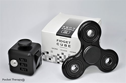 Fidget Cube by Pocket Therapy: Combat Stress, Anxiety and Boredom // Increase Concentration and Focus (Black) -