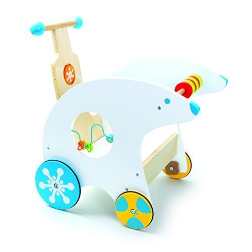 Lauflernwagen Eisbär Lauflernhilfe mit Gummibereifung, multifunktionaler Spielspaß mit eingebauter Motorikschleife, Schulung der Feinmotorik, Maße: ca. 47 x 35 x 48 cm