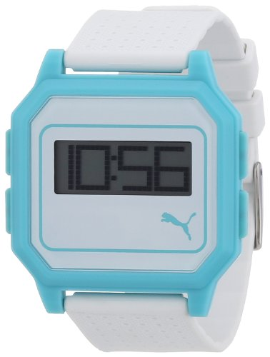 Puma Unisex Flat Screen Digital Watch with Grey LCD Dial Digital Display and White Plastic or PU Strap PU910951008